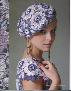 Crochet Irish Lace Dress and Beret. I'd never make this in these colors but wouldn't it be pretty in close shades of one color? Freeform Crochet, Crochet Motif, Crochet Lace, Love Crochet, Beautiful Crochet, Crochet Flowers, Bonnet Crochet, Irish Crochet Patterns, Russian Crochet