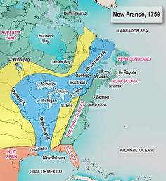 A map of New France as it was in 1759 prior to the Battle of the Plains of Abraham - Because if I'm going to be writing a story/novel about the event, I think I ought to let you see what it was like for the British coming in.