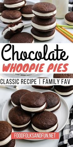 Classic Chocolate Whoopie Pies are little soft chocolate cakes sandwiched together with creamy marshmallow fluff whoopie pie filling. For more dessert recipes follow Food Folks and Fun! Marshmallow Desserts, Recipes With Marshmallows, Recipes With Marshmallow Fluff, Best Cookie Recipes, Cake Recipes, Dessert Recipes, Cupcake Filling Recipes, Chocolate Whoopie Pies, Chocolate Desserts
