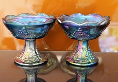 Vintage 1950's Purple Carnival Glass Candle Stick Holders Grapes & Leaves Set