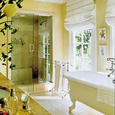 Notice the accessible shower; the antique tub.  The tub wouldn't be suitable for handicapped or elderly people, but could be replaced with a walk-in tub.