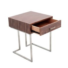 Roman Contemporary Walnut Wood and Stainless Steel End Table with Drawer