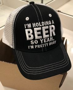 45c26df9e8b MADE IN THE USA    I m holding a beer so yeah I m pretty busy mesh snapback  hat One size fits most people. Designed and created by Beer Gears.