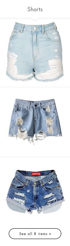 """""""Shorts"""" by rubydna ❤ liked on Polyvore featuring jeans, shorts, destroyed jeans, destructed jeans, destruction jeans, topshop jeans, ripped jeans, www.zaful.com, denim cut offs and ripped shorts"""