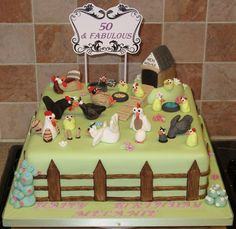 Funcky chicken cake by Paramount Cakes, via Flickr Fondant Cakes, Cupcake Cakes, Cupcakes, Finding Nemo Cake, Birthday Cakes, Birthday Parties, Chicken Cake, Cake Craft, Just Cakes