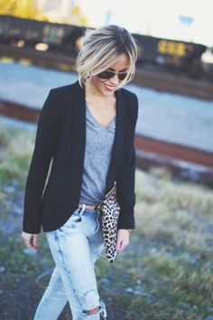 T-Shirt with Blazer, Distressed Skinnies