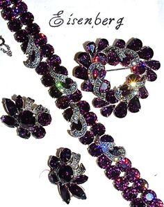 RARE Eisenberg Deep Amethyst Rhinestone Bracelet - Brooch - Clip-Ons