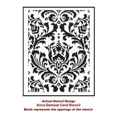Anna Damask card making stencil template - Classical Damask stencil ...
