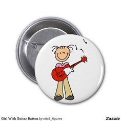 Girl With Guitar Button