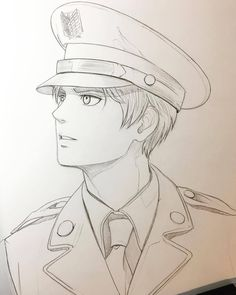 — I love military uniforms! Anime Boy Sketch, Art Drawings Sketches Simple, Pencil Art Drawings, Cute Drawings, Cute Boy Drawing, Girl Sketch, Manga Art, Manga Drawing, Anime Character Drawing