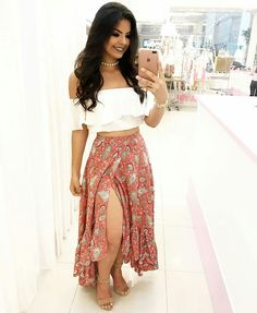 Crop Top Outfits, Skirt Outfits, Cute Outfits, Casual Outfits, Summer Outfits For Teens, Spring Outfits, Sexy Dresses, Fashion Dresses, Boho Fashion
