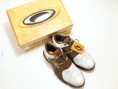 602794c6c14 Oakley Bow Tye 12 Men's Golf Shoes White Brown Lace Up NEW IN BOX #Oakley
