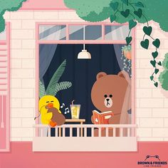 BROWN PIC is where you can find all the character GIFs, pics and free wallpapers of LINE friends. Come and meet Brown, Cony, Choco, Sally and other friends! Friends Wallpaper, Of Wallpaper, Iphone Wallpaper, Cony Brown, Brown Bear, Bullet Journal Boxes, Bear Gif, Bang And Olufsen, Dibujos Cute