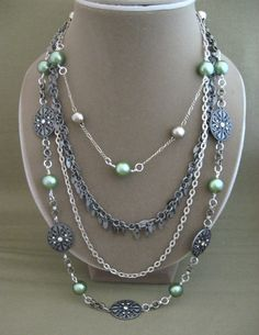 Body Chains Bead Necklace Multi Strand by ChickenLittleJewelry, $29.95