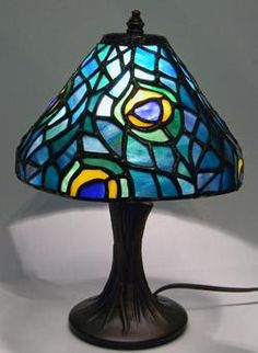 peacock lamp stained glass made with the Worden Lamp System Stained Glass Lamps, Fused Glass, Lamp Light, Light Up, Delphi Glass, Fireplace Screens, Tiffany Lamps, Peacocks, Mosaics