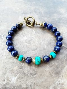 Lapis lazuli and turquoise bracelet, lapis lazuli jewelry, dark lazuli bracelet, This bracelet is a symbol of wisdom and truth. Turquoise Jewelry, Boho Jewelry, Jewelry Gifts, Turquoise Bracelet, Beaded Jewelry, Jewelry Design, Fashion Jewelry, Jewellery, Gemstone Bracelets
