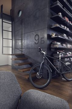 This modern loft in Sofia, Bulgaria was reconstructed by architect Dimitar Karanikolov and interior designer Veneta Nikolova. Using black steel, exposed brick, dark wood and custom-made concrete panel Industrial Interior Design, Industrial Interiors, Industrial House, Industrial Style, Kitchen Industrial, Industrial Lighting, Industrial Bedroom, Vintage Industrial, Modern Interiors