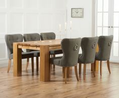 Buy Mark Harris Madrid Solid Oak 200cm Dining Table with 6 Kalim Grey Chairs Online - CFS UK