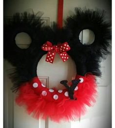 Mickey or Minnie Mouse Tulle Wreath in Red and Black #‎MickeyMouse #‎MinnieMouse Letter not included. We will add one, by request $5.00 Minnie Mouse wreath can be made in Pink and Black as well. Let u