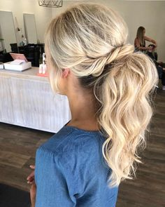 The essential guide to 2020 wedding hair_bridal ponytail 2 Bridesmaid Hair Ponytail, Bridal Ponytail, Ponytail Updo, Prom Hair, Formal Ponytail, Elegant Ponytail, Hair Updo, Beidesmaid Hair, Braid Bangs