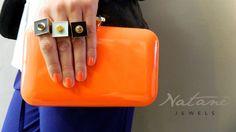 Natanè Planet rings with customised enamels. #ring #anelli #anello #colors #gray#turquoise #black #orange #turchese #arancione #nero #grigio ##woman #fashion #style #outfit #swarovski #jewel #bijoux #girl #natanè #