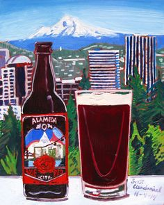 Beer Painting of Rose City Red by Alameda Brewing Company in Portland, Oregon. Year of Beer Paintings by Scott Clendaniel - Day 308.