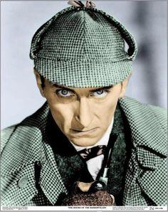 Peter Cushing. Deerstalker Sherlock.