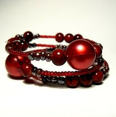 wine red memory wire bracelet