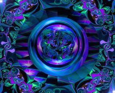 """""""In-Fusion"""" is a sapphire blue abstract art print in my reiki energy art line of chakra wall decor. I created this original digital painting in May of 2012. This chakra art wall decor would be a beaut"""