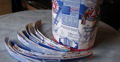 Man benötigt ca. 22mal 1 liter Tetratüten, bei denen der Deckel und das Unterteil abgeschnitten wird und an der Naht aufgeschnitten, ...