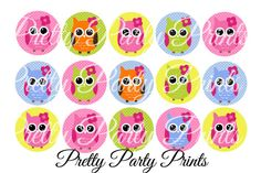 Instant Download Spring Owls 1 inch Round Circles for Bottle Caps, Hair Bows, Jewelry, Magnets and Scrapbooking on Etsy, $1.50