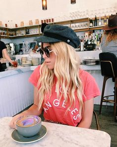 @whitneybearr in the WILDFOX Los Angeles No9 Tee