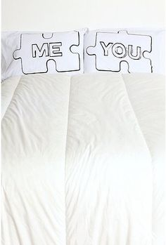 Just bought these pillow cases for me and my man for my bed, I cannot wait till they are at my doorstep. how cute are they? :)  These are also so perfect because me and my boyfriend say we complete each other just like a puzzle piece, so how appropriate are these for us <3
