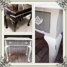 Grey and white ball & claw drawer table Chalk Paint Techniques, Drawer Table, Chalk Paint Furniture, Recycled Furniture, Shabby Chic Furniture, Furniture Makeover, Grey And White, Entryway Tables, Drawers