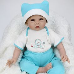 "Baby Dolls Handmade Silicone Reborn Realistic Baby Boy 22"" - Baby Dolls"