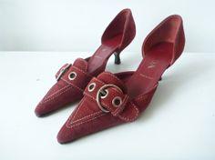 prada kitten heels   PRADA Oxblood Kitten Heels- Sz.7, 36, Suede, 90s, Buckle