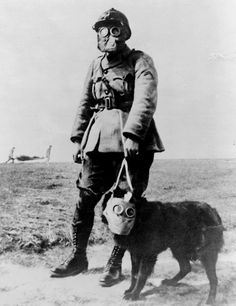2.This is an example of a uniform from WWI. This was the first war that used gas as a weapon, so they created gas masks. Everyone was very wary of gas because you cant see it or tell that it's coming so many people wore the masks--they even had them for the animals.