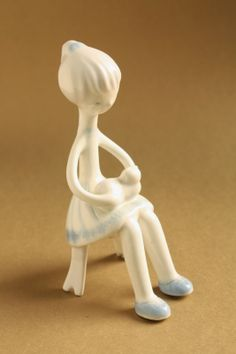 Art deco porcelain: Girl with cat - aquazur - Aquincum Smurfs, Garden Sculpture, Art Deco, Porcelain, Cats, Outdoor Decor, Blog, Character, Home Decor