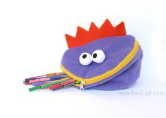 Funny pencil monster pouch Crayon case Kid monster von mouhoxlab