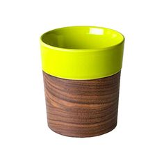 Dot & Bo Else Wood and Ceramic Tumbler in Green ($51) ❤ liked on Polyvore featuring home, kitchen & dining, drinkware, green tumblers and ceramic tumbler