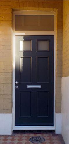 Klassic Front timber front door, Door panel Mayffair 2, Frame 10, Painted RAL 7016, Kloeber 39123