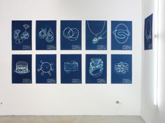 Liesbet Bussche, 11 Pieces of Jewelry Every Woman Should Own, 2015, blueprint (cyanotype process) on watercolor paper, each 500 x 700 mm, photo: Benjamin Lignel