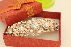 Gold Wedding barrettes Gold Wedding hair comb Vintage by bridal101
