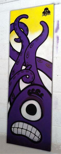 New work from urban artist Mr Pilgrim Octopanic! // Original art for sale available on his buy art online shop including graffiti art, street art & wall art Graffiti Art For Sale, Graffiti Wall Art, Street Art Graffiti, Artist Portfolio, Buy Art Online, Original Art For Sale, Stencil Art, Urban Art, Kunst