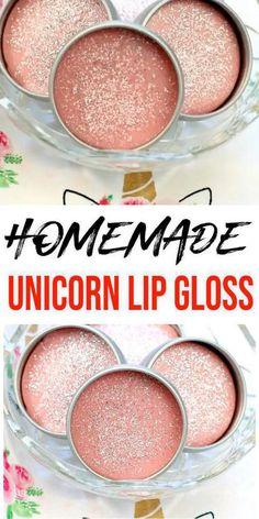 Gloss Repulpant, Diy Lip Gloss, Glitter Gloss, Homemade Lip Balm, Diy Lip Balm, Diy Lip Scrub, Unicorn Lip Gloss, Lip Balm Recipes, Natural Lip Balm