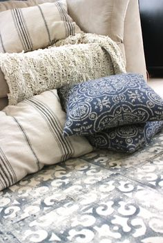 Like this hand painted rug and pile of pillows