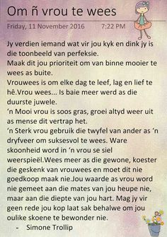 Om n vrou te wees Prayer Quotes, Bible Quotes, Motivational Quotes, Inspirational Quotes, Daily Thoughts, Positive Thoughts, Mothersday Cards, Afrikaanse Quotes, Wise People
