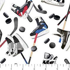 Hockey Fabric / Power Play Cotton   By Deborah Edwards Northcott Studio 21241 / Fat Quarter /  Fabric by the Yard by SewWhatQuiltShop on Etsy
