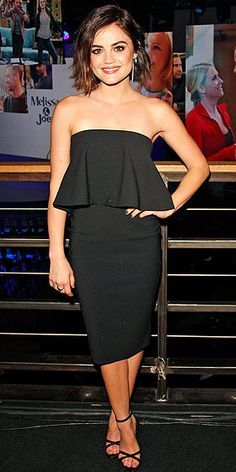 Last Night's Look: Love It or Leave It? | LUCY HALE  | wearing a flared, strapless dress and sandals at the ABC Family Upfront in N.Y.C.