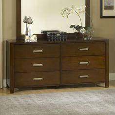 ⚜️ Add charm to your home with Modus Furniture Riva Dresser, Chocolate Brown from Modern Drawers, Modern Dresser, Wood Drawers, Six Drawer Dresser, Double Dresser, Dresser With Mirror, Dressers, Drawer Fronts, Drawer Handles